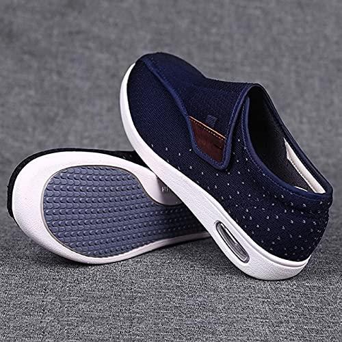 XRDSHY Zapatos Diabéticos para Hombres, Cierre Ajustables Transpirables Livianos Livianos Sin Deslizamiento De Zapatillas De Cojín De Aire para Pies Hinchados Edema,Blue-37