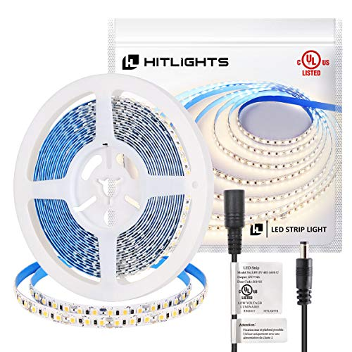 HitLights Neutral White LED Strip Lights, UL-Listed Premium High Density 2835-16.4 Feet, 600 LEDs, 4000K, 44W, CRI 90+, 900Lumen/m 12V DC LED Tape Lights for Under Cabinet, Kitchen, Lighting Project