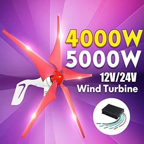TQ Wind-Generator, 4000W / 5000W Windgenerator 5 Windklingen Generator 12 / 24V Horizontal-Windenergieanlagen für Haushalt Straßenbeleuchtung + Laderegler,12v