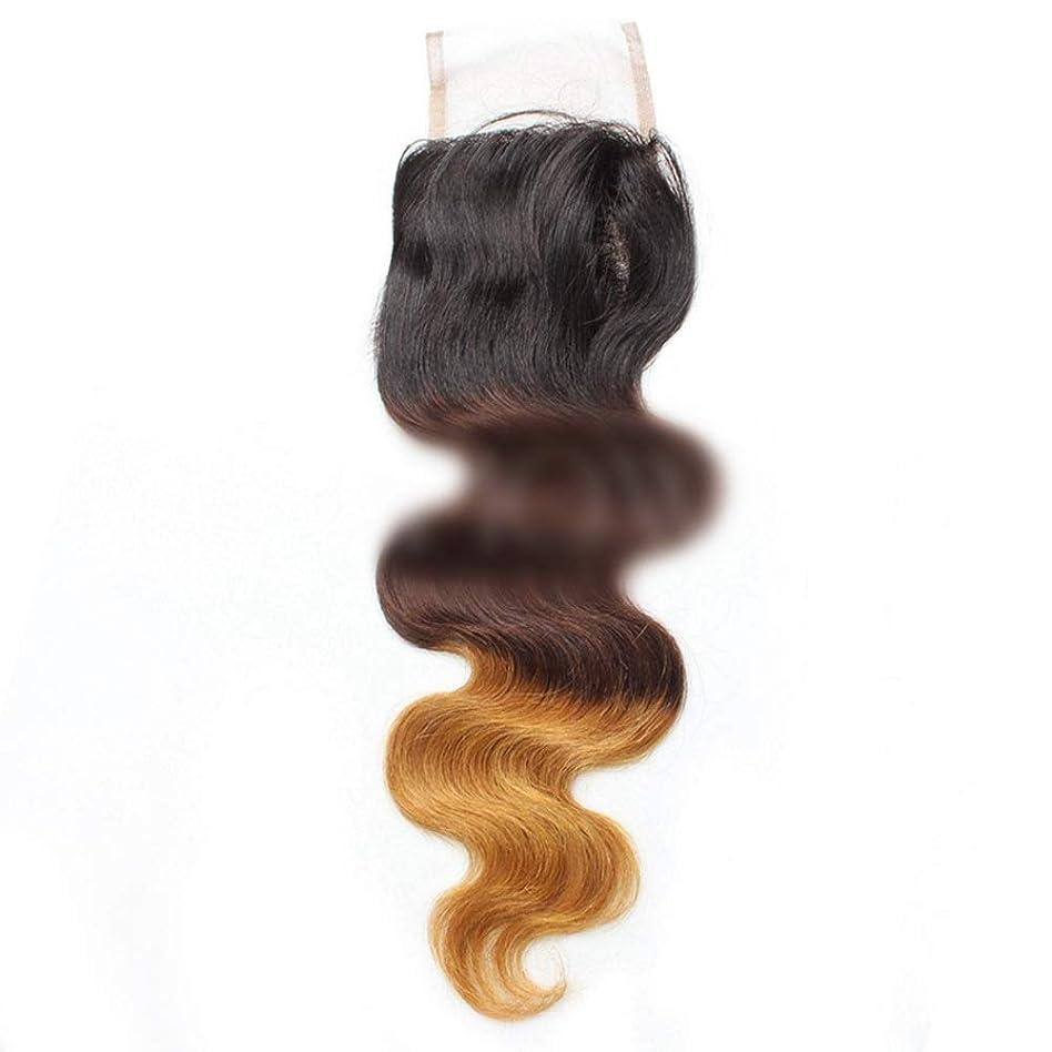 ご覧ください一般的に例YESONEEP 9aバージンブラジル人間の髪の毛自由な部分実体波4 * 4レース閉鎖 - 1B / 4/27#3トーン色ロールプレイングかつら女性のかつら (色 : ブラウン, サイズ : 12 inch)