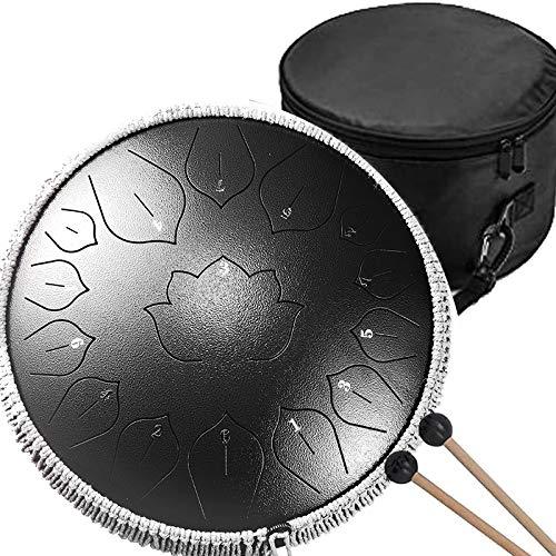 QULONG Tambor de lengua de acero de 36 cm, instrumento profesional, 15 tonos, bolsa trasera de tambor de percusión, muy adecuada para yoga, meditación y alivio del estrés, color negro
