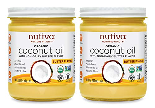 Nutiva Organic Coconut Oil with Non-Dairy Butter Flavor, 14 Ounce (Pack of 2)   USDA Organic, Non-GMO   Whole 30 Approved, Vegan & Gluten-Free   Plant-Based Superfood Replacement for Butter