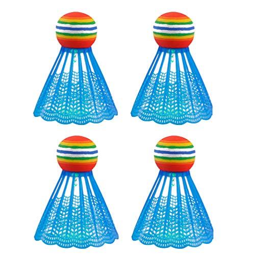 VOSAREA 4PCS Badminton Bälle Nylon LED Badmintonbälle Blau Leuchtend im Dunkeln Flugstabilität Langlebig Badminton Training Zubehör Outdoor Garten Gymnasium