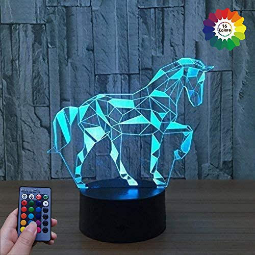 3D Cheval LED Lampe Art Déco Lampe la Couleur Changeant Lumières LED Décoration Lumière Contrôle à distance 7/16 Couleurs Change Alimenté par USB Enfants Cadeau Anniversaire Décoration de Noël
