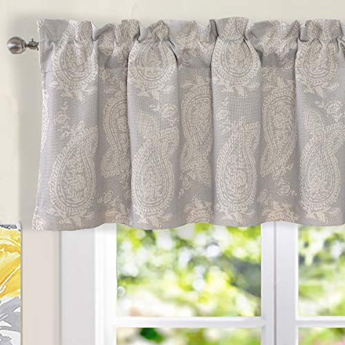 DriftAway Cathy Valance Linen Blend 2 Layers Farmhouse and Modern Rustic Room Darkening Blackout Valance for Cafe Kitchen Living Room Bathroom Paisley Block Print 52 Inch by 18 Inch Plus 2 Inch Gray