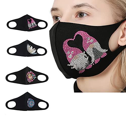 4 paquetes de kit de pintura de diamante para adultos, decoración de máscaras faciales de diamantes 5D para mujer, algodón transpirable, bordado de flores de cara para trabajo escolar