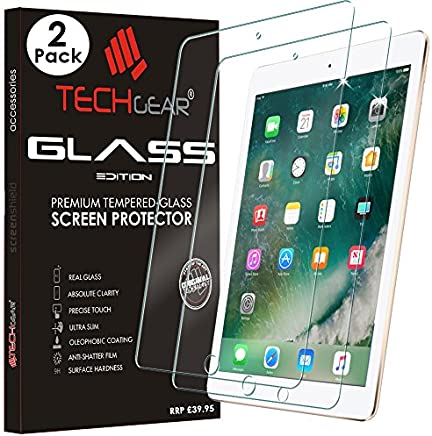 "[2 Pack of] TECHGEAR GLASS Edition for iPad 9.7"" (2018/2017) - Genuine Tempered Glass Screen Protector Guard Cover Compatible with New Apple iPad 9.7 5th & 6th Gen - Apple Pencil Compatible"