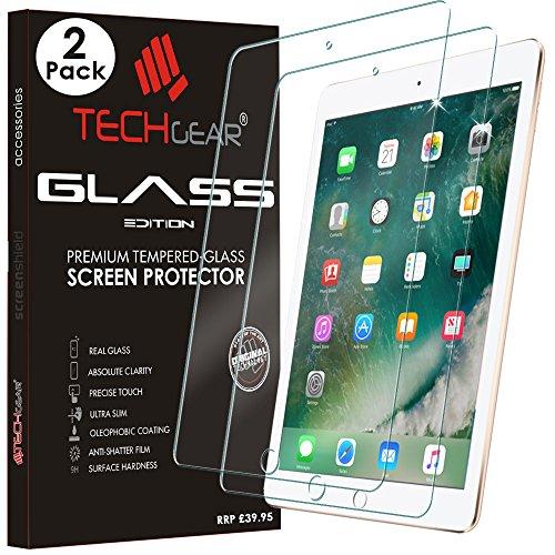 TECHGEAR [2 Stück] Panzerglas für iPad 9.7 (2018/2017), iPad Air 1, iPad Air 2 (9,7 Zoll) Panzerglas Folie Anti-Kratzer Schutzabdeckung kompatibel mit iPad 9.7 5. und 6. Generation - Pencil kompatibel