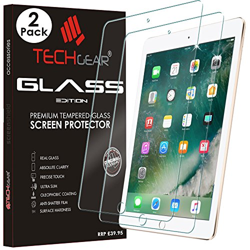 [2 Pack of] TECHGEAR GLASS Edition for iPad 9.7' (2018/2017) - Genuine Tempered Glass Screen Protector Guard Cover Compatible with New Apple iPad 9.7 5th & 6th Gen - Apple Pencil Compatible