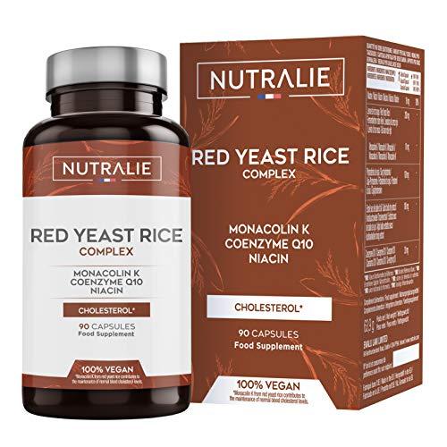 Levadura de Arroz Rojo con Monacolina K 10 mg + Coenzima Q10 | Contribuye a Mantener Colesterol Normal con Levadura de Arroz Rojo, Monacolina K, CoQ10, Vit B3, Soja y Ajo | 90 Cápsulas Nutralie