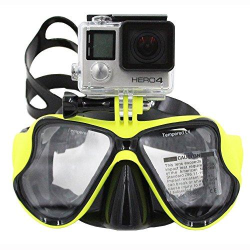 TELESIN Buceo Máscara de buceo Soporte de buceo Compatible con GoPro Hero3, 3+ y 4/4 Session, Hero 5/6, Xiaomi Yi, SJCAM Gafas de natación,Amarillo