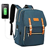 Laptop Backpack for Women Men 15.6 inch Teacher Backpack School College Backpack Computer Bag Water-Resistant Travel Work Bag with USB Charging Port(Navy)