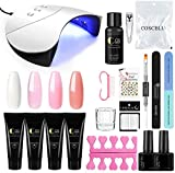 Saint-Acior Kit de Gel 4PCS Poly UV Gel Construcción Uñas Rápida Nail Extensión 36W UV/LED Lámpara Secador de Uñas Top Coat Base Coat Kit para Manicura Pedicura Alargador de Uñas de gel