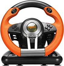 PC Racing Wheel, PXN V3II 180 Degree Universal Usb Car Sim Race Steering Wheel with Pedals for PS3, PS4, Xbox One, Xbox 360(Orange)
