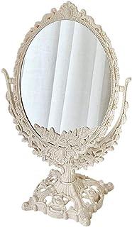 Cosmetic Mirror مرآة الغرور سطح المكتب مرآة الحمام مرآة عالية الوضوح عدسة مكبرة (بيج) مناسبة لارتداء الملابس طاولة غرفة نو...