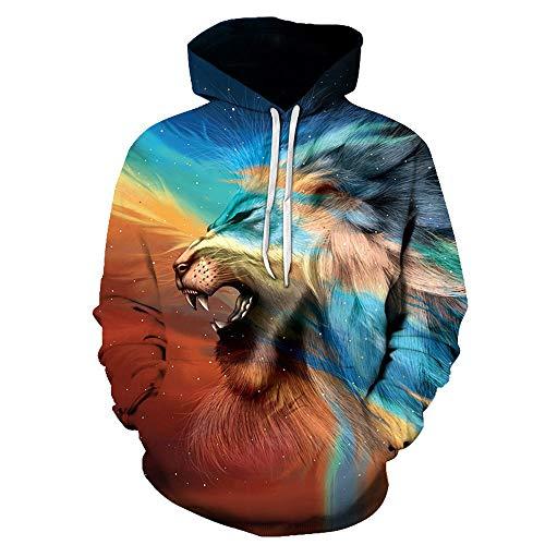 Unisex moda novedad sudaderas con capucha 3D impreso creativo león gráficos Pullover sudaderas
