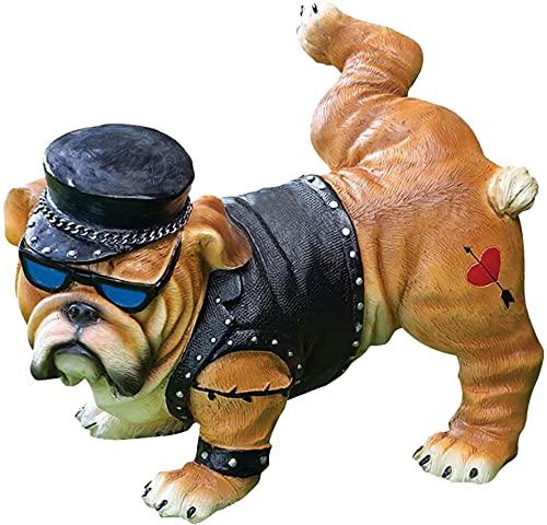 Bedspread Divertida Estatua de jardín de Bulldog para orinar - Estatua de Perro rudo con Gafas, Estatua de Perro para orinar de Bulldog Resistente para decoración de Escritorio para jardín al Air