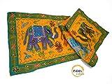 India Colors. Camino de mesa, mantel decorativo, pie de cama, tapiz o paño para colgar en pared. Hecho a mano en India. Telas bordadas con incrustaciones. Diseño elefantes. Primera calidad. (Amarillo)