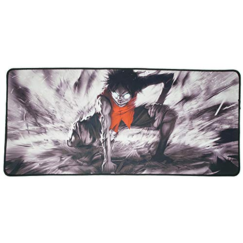 One Piece - Luffy - Anime Extended Size Custom Professional Gaming Mouse Pad - Anti Slip Rubber Base - Stitched Edges - Large Desk Mat - 28' x 12' x 0.12'