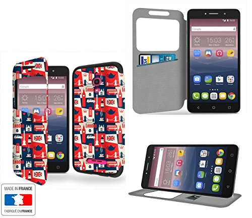 Londres - United Kingdom Collection Pattern Portafoglio PU Pelle Custodia Protettiva Case Cover per Alcatel Pixi 4 6' 4G con Ventana de visibilidad - Casae Industry