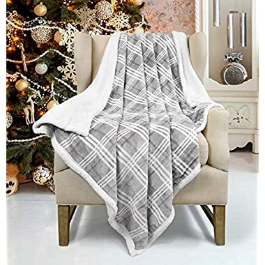 Plaid Sherpa Fleece Blanket, Super Soft Cozy Warm Fuzzy Reversible Buffalo Check Throw Blanket for Couch Sofa Bed, 50  x 60 , Gray