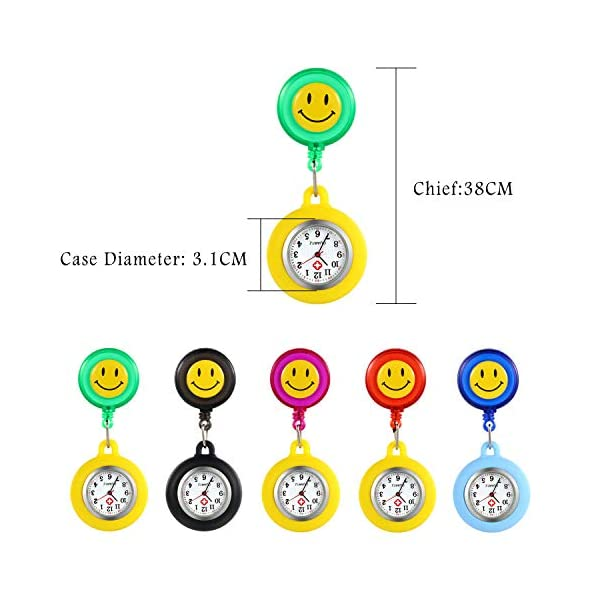 Women Girl's Nurse Watches Clip-on Hanging Lapel Silicone Jelly Fob Pocket Watch Cute Cartoon Smile Round Face Arabic Markers for Doctor – Blue