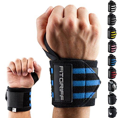 Fitgriff® Muñequeras Gym, Deportivas, Musculación, Gimnasio, Calistenia, Wrist Wraps - Mujeres y Hombres (Black/Blue) ✅