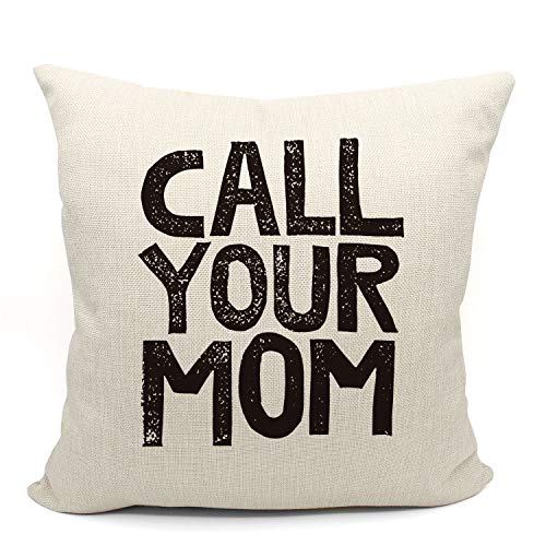 Mancheng-zi Call Your Mom Funny Throw Pillow Case, for Daughter, Son Gifts, Dorm Room Accessories Graduation Party, 18 x 18 Inch Decorative Cotton Linen Cushion Cover for Sofa Couch Bed