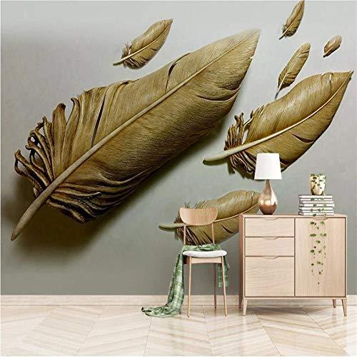 Fototapete Wandbild Hintergrund 3d TapetenBenutzerdefinierte Tapete 3D Stereo Foto Wandbild geprägt golden Feder Hintergrund Hintergrund dekorative Malerei Wandbild 3D Tapete-Über 400 * 280 cm