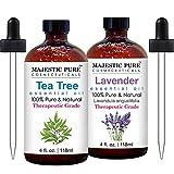 Majestic Pure Tea Tree Essential Oil with Bulgarian Lavender Essential Oil - 100% Pure and Natural, Therapeutic Grade Oils – 4 fl oz Each