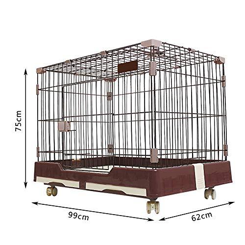 DZLA Jaulas para Perros Grandes con Dos Puertas Jaula de Metal para Mascotas Gatos cajones para Perro Grande con Ruedas y Bandeja (L-99x62x75cm, Marrón)