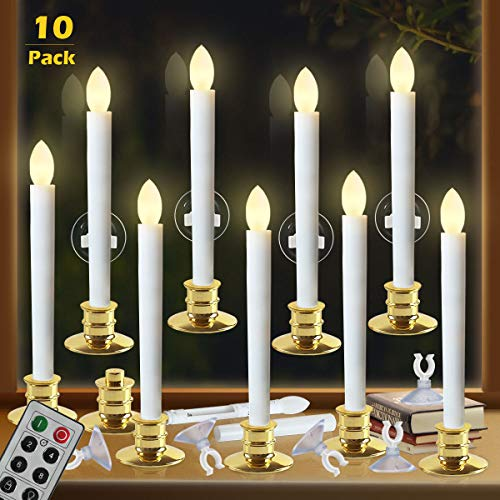 Window Candles with Remote Timers Battery Operated Flickering Flameless Led Electric Candle Lights with 10pcs Gold Base and 10pcs Suction Cups Taper Candle Holder for Christmas Decorations