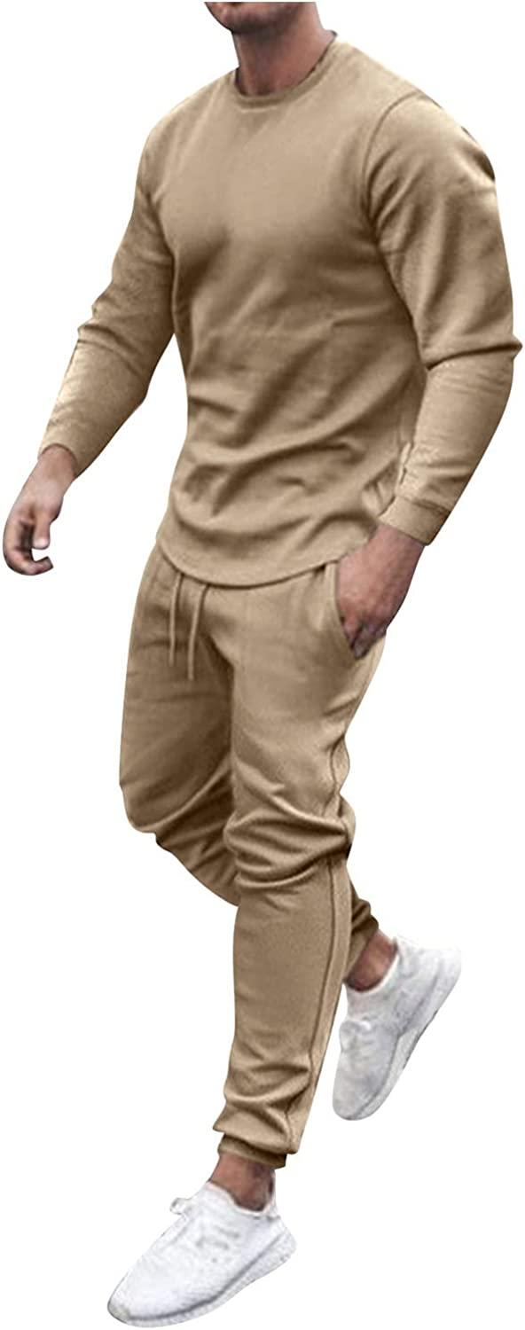 FORUU Mens Athletic Tracksuit 2021 Fashion 2 Piece Jogging Suits Printed O Neck Long Sleeve Pullover & Long Pants Sets