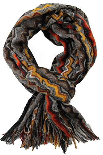 Rotfuchs Foulard unisexe Foulard d'hiver Foulard en peluche Echarpe tricotée en laine zigzag chaude Fabriqué en Allemagne 180 x 50 cm (ocre, 180 x 50