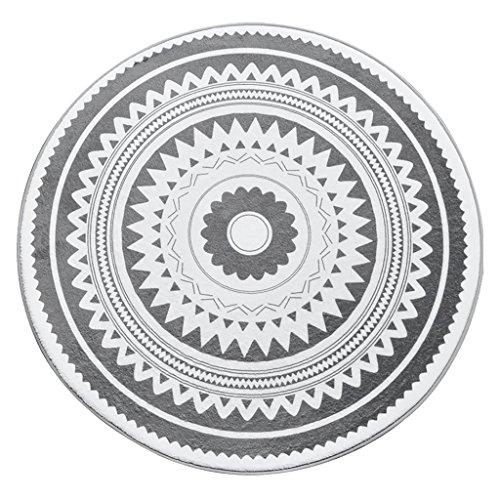 Everyday Home- Tapis Rond Gris Clair Shaggy Area Round Room Salon géométrique Moderne Décontracté 100X100 Tapis cm Rond Facile à Nettoyer Teint/Fade Resistant/antidérapant-6 Tailles