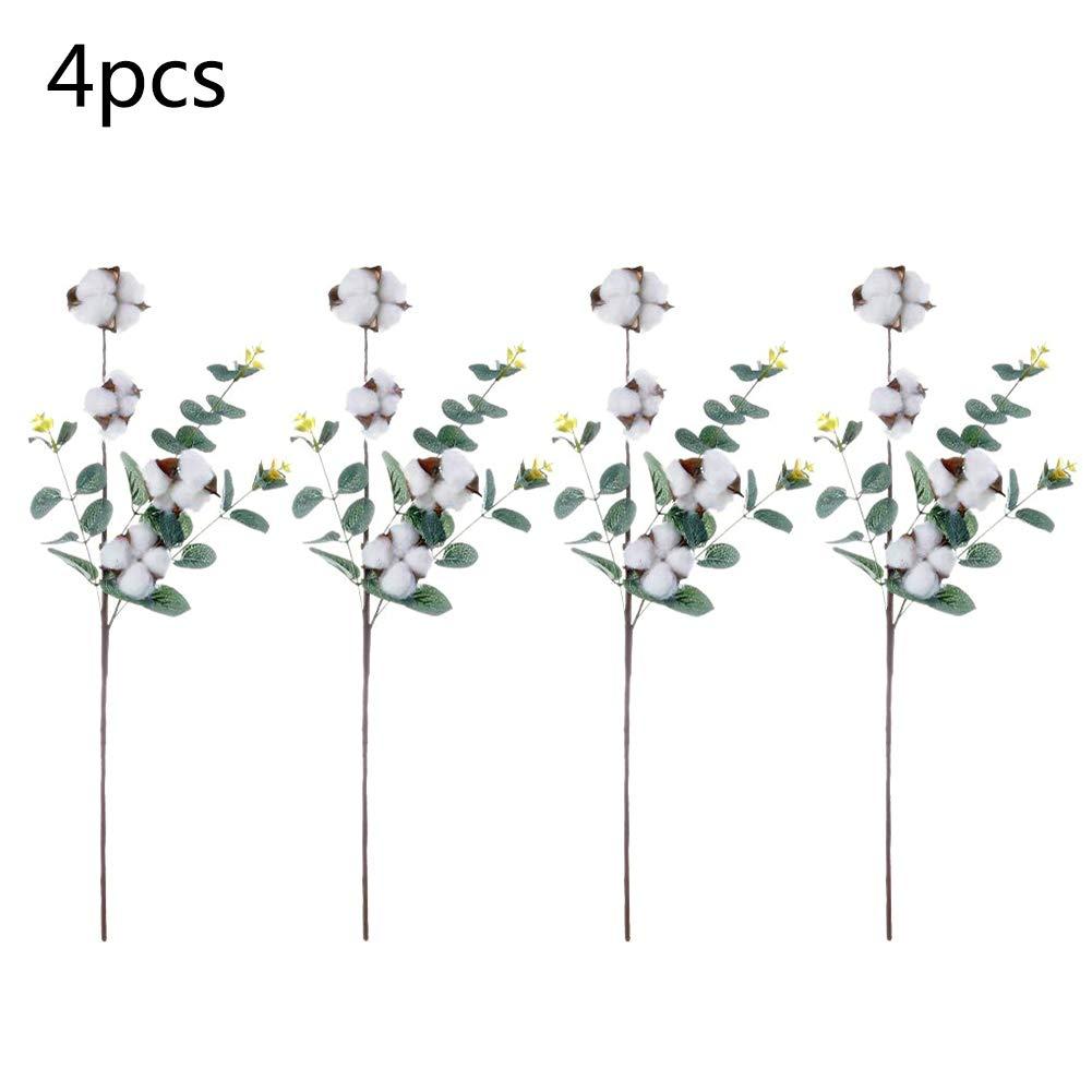 Ramas de hojas de eucalipto de algodón mixto de 53 cm, ramas de flores de algodón