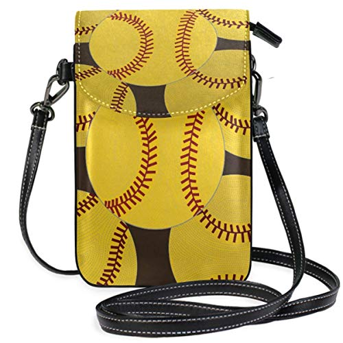 XCNGG Softball Base Yellow Cell Phone Purse Wallet for Women Girl Small Crossbody Purse Bags
