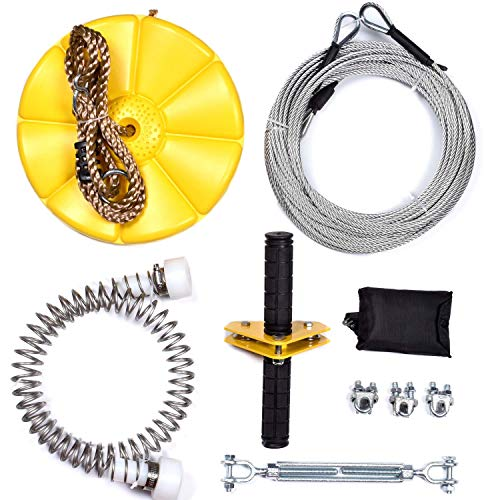 iZipline 95 Feet Zip line Kit with Seat and Bungee Brake,Speed Trolley Pulley with Grip Handle Bar,Zipline kit for Kids and Adults Backyard Playground Adventures Diamond Yellow