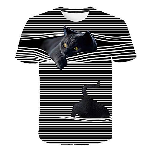 Fuyamp Damen-T-Shirt, 3D-T-Shirt, bedruckt, zwei Katzen, kurze Ärmel, Rundhalsausschnitt, Sommer-Top, T-Shirt, Herren-T-Shirt, S-3XL S Schwarz