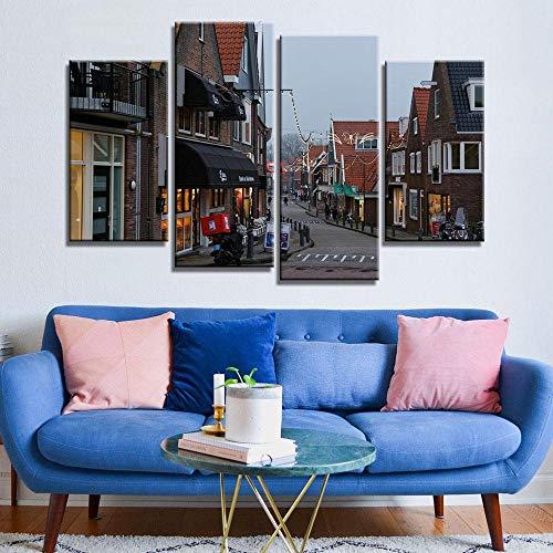 ANTAIBM® Kinderzimmer Schlafzimmer dekorative 4 Malerei Holzrahmen - verschiedene Größen - verschiedene Stile4 Panel Modern Printed Niederlande Stadtwandmalerei Leinwand Landschaft Kunst Home Decor Wa