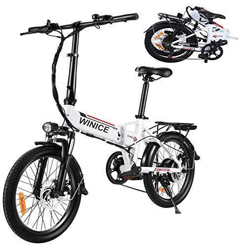 """Vivi 20"""" Bici Elettrica, 350W Bicicletta Elettrica Pieghevole con 36V 8Ah Staccabile Batteria Al Litio/Luce Bici/Campanello, Cambio Shimano 7 Velocità E-Bike para Adultos"""