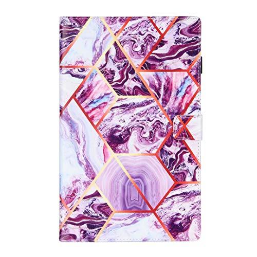 Ufgoszvp Mármol - Funda universal para tablet de 7 pulgadas, a prueba de golpes, piel sintética, plegable, con función de encendido y apagado automático, soporte de goma, color morado