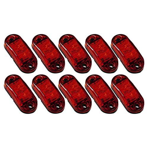 Lesueur 10X LED Rojo 2,5 Pulgadas 2 Diodos Luz Ovalada Espacio Remolque LáMpara de Marcador Lateral