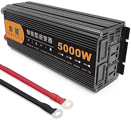 PGKCCNT Inversor de energía 320 0W, 4000W, 5000W, 6000W, 8000W, 9000W, 12000W, 15000W (Pico) DC 1 2V / 24V Al inversor portátil de AC 220V, con Pantalla LCD y Puertos USB, para Barcos de Camiones RV