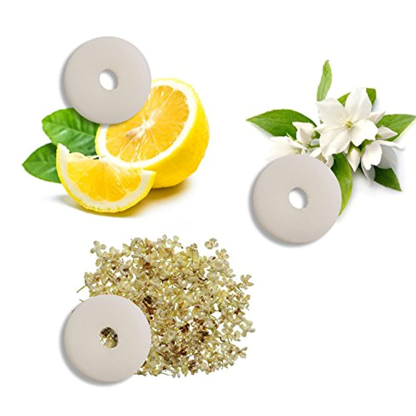 INSTEN 3-Piece Set Aroma Replacement Pads Refill Pad for Portable Fan Handheld USB Cooling Fan Table Fan with Stand, 27mm Diameter (Jasmine, Osmanthus, Lemon)