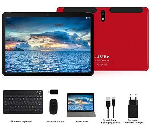 JUSYEA J5 Tablet : Ultra-Portátiles de 10 Pulgadas Android 9.0 Pie Tableta - RAM 4GB | 64GB Expandible (Certificación GOOGLE GSM) - Batería de 8000mAh : SIM Dual & WIFI —Ratón | Teclado y Otros (Rojo)