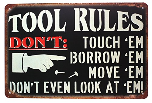 UOOPAI Tool Rules Metal Tin Sign, Vintage Plate Plaque Tool Shed Garage Home Wall Decor
