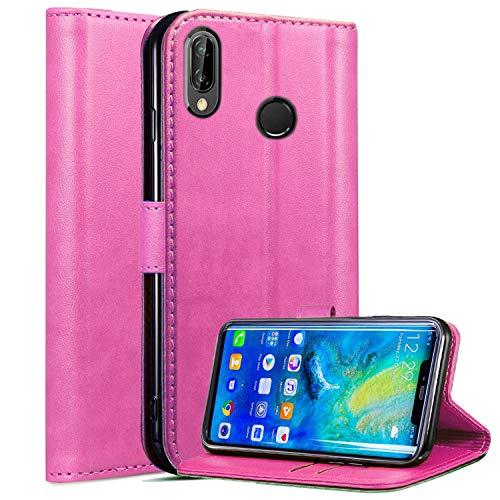 Roba de Cellulare Huawei P Smart 2019 / Huawei Honor 10 Lite Custodia, Custodia in Pelle Magnetica a Rilievo Magnetica con Supporto per Stand Integrato per Huawei P Smart 2019 (Pink)