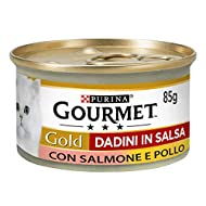Gourmet Purina Gold Wet Cat Food Cubes in Sauce with Salmon and Chicken - 24 x 85 g Tins (Pack of 24...
