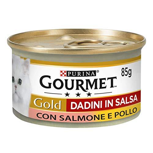 PURINA GOURMET GOLD Umido Gatto Dadini in Salsa con Salmone e Pollo - 24 lattine da 85g ciascuna...